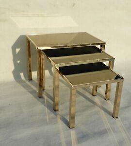 MID CENTURY BELGOCHROME NESTING TABLES GIGOGNE 23 CT GILDED BELGOCHROM 1970s