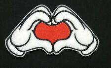 Mickey Embroidered Love Heart Hands Iron/Sew On Patch, Badge