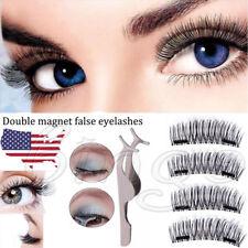 4 PCS 3D Double Magnetic False Eyelashes Natural Eye Lashes Extension+ 1 Tweezer