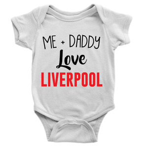 Me + Daddy Love Liverpool Babygrow Cool Body Suit Football Baby Boy Gift