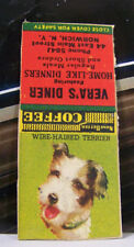 Vintage Matchbook Cover Q1 Norwich New York Wire Haired Terrier Vera's Diner Dog