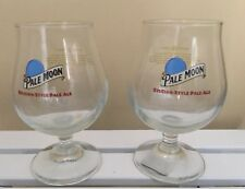 Pale Moon Blue Moon Belgian Style Pale Ale Glass Goblets Beer SET OF 2 Rare!