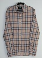 Stray Men's Flannelette Pink Check Shirt Button Up Long Sleeve Size XL