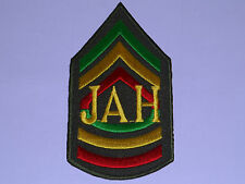 NOVELTY RASTA SEW ON / IRON ON PATCH:- JAMAICAN ARMY SGT STRIPES JAH