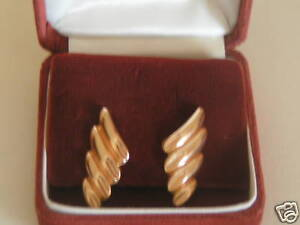 Custom Made Clip On Gold Earrings 100% 14K 1 of Kind Original Owner Never Worn