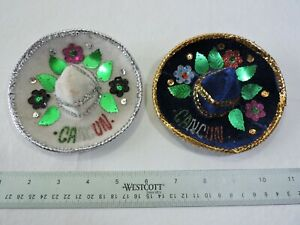 Set of 2 Mini Sombrero Velvet Cancun Hats, Party Decorations