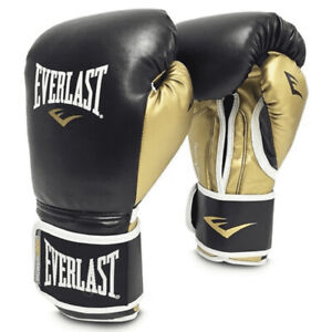 Everlast P00000723 14 Ounce Powerlock Hook & Loop Training Gloves, Black & Gold