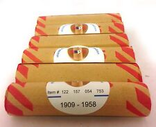Wheat penny rolls Unsearched 6 rolls of Lincoln cents 1909 1958 PDS US coins