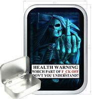 Grim Reaper Finger Warning Gift Box,150ml Silver Hinged Tin,Tobacco Tin