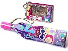 2 PC COACH Poppy Glam Graffiti Wallet Keychain and Umbrella Set Purple Pink Cute