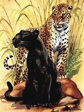 ART PRINT POSTER PAINTING ANIMAL LEOPARD BLACK SPOTTED CAT JUNGLE NOFL0732