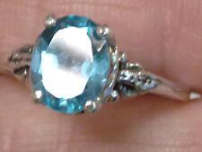 925 Sterling Silver Light Swiss Blue Topaz Ring Size-9