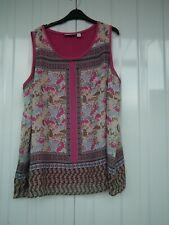 Susan Graver Pink Floral Chiffon Overlay Sleeveless Blouse Top Size 2XL