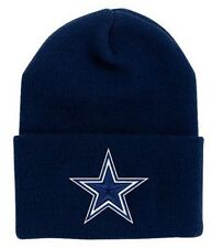 Dallas Cowboys Basic Knit Navy Raised Cuffed Winter Field Beanie Sideline Hat