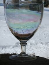 """12.75"""" CRYSTAL FOOTED COVERED CANDY STORE APOTHECARY JAR W/ IRIDESCENT FINISH"""