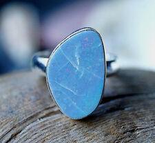 Silberring 56 Edelopal Boulderopal Freiform Oval Eckig Ring Silber Opal Schlicht