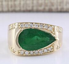 4.18 Carat Natural Emerald 14K Yellow Gold Diamond Ring