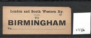 London & South Western Railway LSWR - Luggage Label (1736) Birmingham