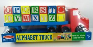 Melissa and Doug - Classic Wooden Letters Alphabet Truck & Trailer - Ages 3+ NEW