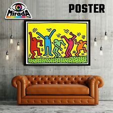 POSTER ARTE KEITH HARING  figure arte moderna TOP QUALITY yellow man