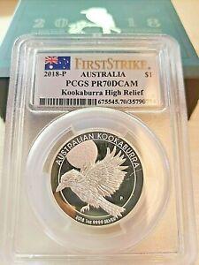 2018-P $1 PROOF AUSTRALIA KOOKABURRA HIGH RELIEF PCGS FS PR70DCAM 99.99 Silver