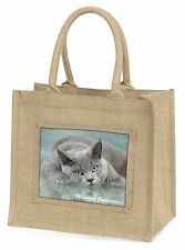 British Blue Cat 'Morning Gorgeous' Large Natural Jute Shopping Bag Ch, MG-11BLN