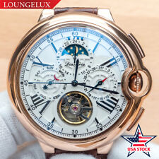 Mens Automatic Mechanical Wrist Watch Date Day Moon Phase Rose Gold USA Stock