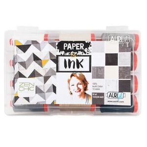 AURIFIL PAPER & INK COLLECTION SET BY BRIGITTE HEITLAND 12 SPOOLS 50 WT COTTON