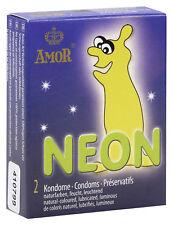 Set 2 Condoms Preservativi Profilattici Fluorescenti Amor Neon Luminosi al buio