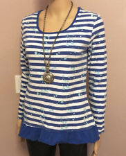 Justice Blue White Striped Long Sleeve Ruffle Shirt Size 20