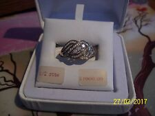 WOMENS YellOra STERLING SILVER GOLD DIAMOND 1/2 CTTW 3 STN SIZE 7 RING $1,000.00