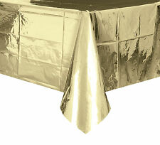 Gold Foil Tablecover Plastic Shiny Gold Party Tablecloth 50th Anniversary