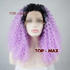 Light Purple Mixed Black Long Heat Resistant 24 Inches Lace Front Hair Curly Wig