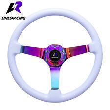 "Universal 14"" Wood Grain Steering Wheel 6 Bolts 3"" Dish Neo Chrome 3-Spoke White"