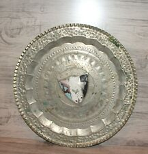 Vintage Arabic hand made floral engraved metal wall hanging plate