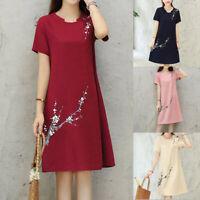 Women Plum Flower Print O Neck Short Sleeve Cotton Linen Loose Casual Dress HOT