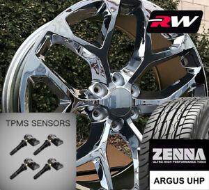 "20 x9"" inch GMC Sierra 1500 Snowflake Style Wheels Chrome Rims Tires fit Tahoe"