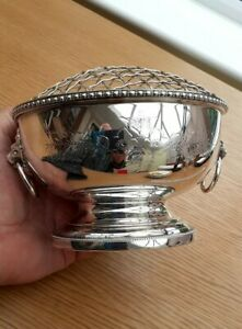 SMART LARGE HAND ENGRAVED SILVER PLATED ROSE BOWL MADE IN ENGLAND 1940s/50s