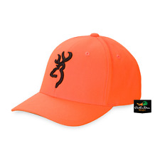 NEW BROWNING SAFETY BLAZE ORANGE FLEX FIT HAT BALL CAP BUCKMARK LOGO SM/MD