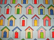 Seaside Beach Hut & Seagull (Blue) Poly Cotton Fabric