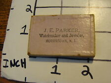 Original Vintage box top: J.E. PARKER Watchmaker & Jeweler Morristown NJ