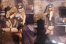 Ladies Sexy PVC Faux Leather Catwoman Halloween Fancy Dress Costume Full Outfit