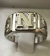 """18k solid white gold initial  """"N"""" ring  h3jewels size  7 made in USA"""