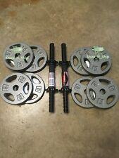"40 LB Dumbbell Weight Plate Set- 8x 5LB Standard 1"" Plates + Adjustable Handles"