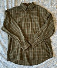 Arrow Green & Brown Plaid Long Sleeve Collared Button Down Shirt Sz L
