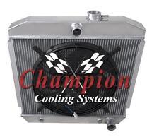 """1955 1956 1957 Chevy Car 3 Row Rockin Champion Radiator w/ 16"""" Fan"""