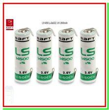 pila litio ls14500 SAFT 3,6v lamelle a U Li-SOCl2 STILO AA batteria a saldare x4