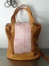 Roxy Canvas Weaved Front Backpack Shoulder Purse Bag Tan  Faux Leather