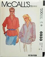 McCall's 6933 Retro Pullover Blouse w Stand Up Collar Sz 16 UNCUT Pattern 1980s
