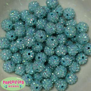 14mm Mint Rhinestone Resin Bubblegum Beads Lot 20 pc. chunky gumball